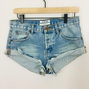 One x One Teaspoon Bandits Distressed Denim Shorts